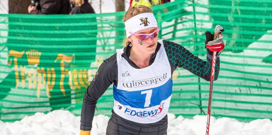 PHOTO+COURTESY+OF+UVM+ATHLETICS%0AFirst+Year+Alayna+Sonnesyn+competes+in+a+nordic+skiing+competition.+Sonnesyn+won+the+women%E2%80%99s+nordic+Rookie+of+the+Year+award.+She+competed+in+the+NCAA+Championships+Mar.+11-+14.
