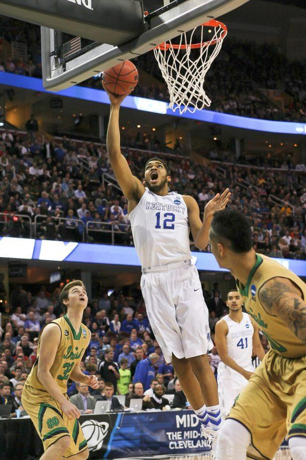 Karl-Anthony Towns of the Kentucky Wildcats shoots the ball during first half of the Elite 8 of the 2015 NCAA Men's Basketball Tournament against the Notre Dame Fighting Irish at Quicken Loans Arena on Saturday, March 28, 2015 in Cleveland , OH.
