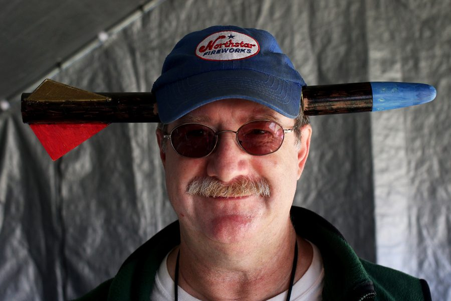 Howard Drukerman, Champlain chapter president of the National Association of Rocketry, shows off his hat at the Champlain Mini Maker Faire on Sept. 27