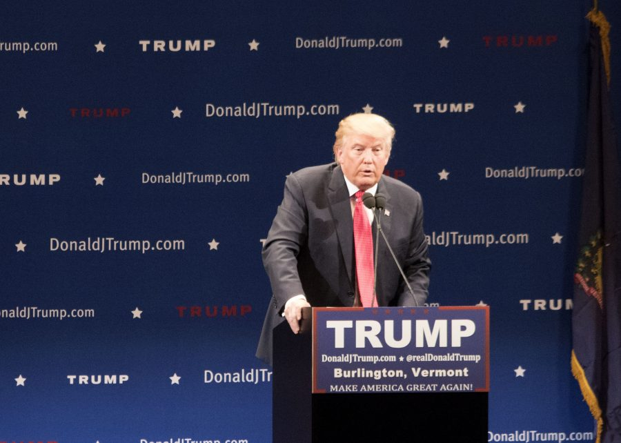 Donald Trump gives a speech at his rally at the Flynn theatre Dec. 7. RYAN THORNTON/The Vermont Cynic