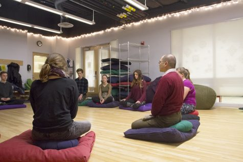 A Mindful Meditation session at LivingWell is pictured Jan.27. The drop-in classes are offered through the Center for Health and Wellbeing. PHIL CARRUTHERS/ The Vermont Cynic