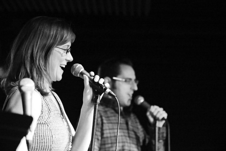 Vermont Comedy Club owners Natalie Miller and Nathan Hartswick thank supporters at the club's grand opening in November.  PHOTO COURTESY VERMONT COMEDY CLUB