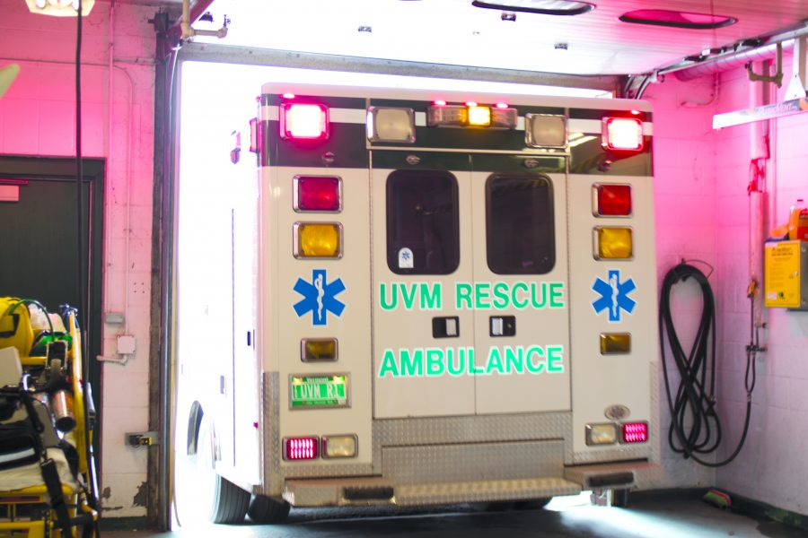 A UVM Rescue ambulance responds to a medical call Feb. 21. The rescue squad secured funding through a private donation to build a new facility. Oliver Pomazi/The Vermont Cynic