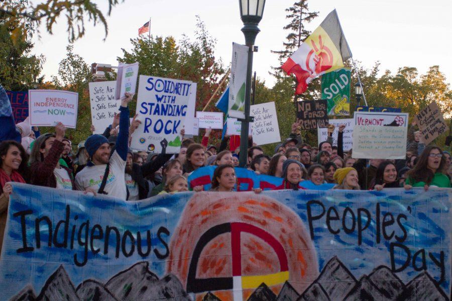 Protestors in front of the Davis Center