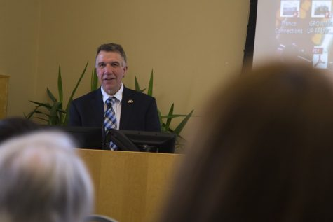 Gov. Phil Scott speaks at the French Canadian International Conference March 20 in the Livak Ballroom.  The conference focused on Vermont and Quebec relations, immigration, and trade.