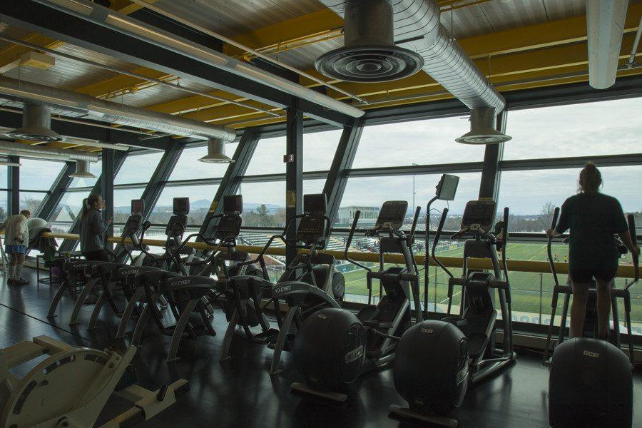 PHIL CARRUTHERS | The Vermont Cynic The view from the current fitness center in the Patrick Gym complex. The board of trustees approved construction of a new multipurpose center March 3.