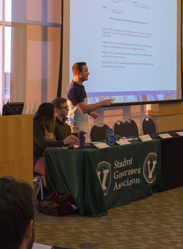 SGA President Jason Maulucci addresses the attendees of the SGA meeting April 5, 2016. SGA is planning to be carbon neutral by 2025.