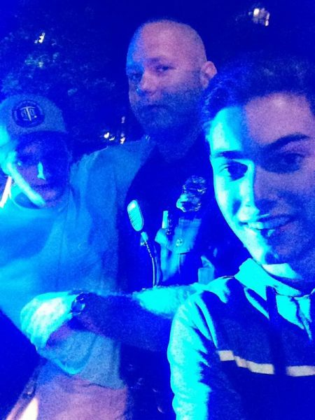Selfie with Harrison Naylor and a South Burlington police officer.