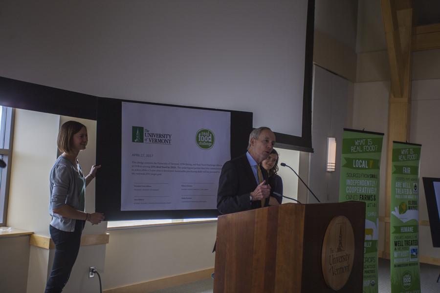 PHIL CARRUTHERS | The Vermont Cynic President Tom Sullivan announces that UVM has surpassed the Real Food Challenge of 20 percent real on-campus food. Since exceeding the goal, UVM has now pledged to have 25 percent real food by 2020.