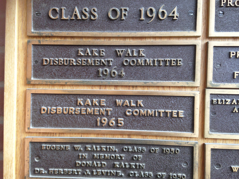 A plaque dedicated to the Kake Walk Disbursement Committees of 1964 and 1965 hangs outside the Bailey/Howe Library. The plaque was removed Sept. 28 after student diversity leaders discussed racial injustices on campus with President Tom Sullivan.