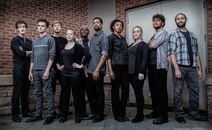 "The cast of ""The Exonerated"" stands outside of the Davis Center. The play is a collection of six real stories of injustice and redemption all curated from interviews, letters, transcripts and public record."
