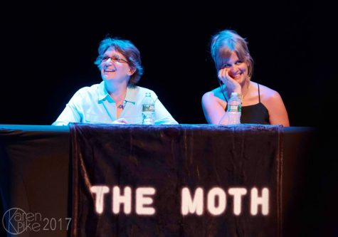 "From left, producer Susanne Schmidt and host Autumn Spencer on stage at October's Moth event. The upcoming story slam, titled ""Control,"" will take place Nov. 14 at ArtsRiot."