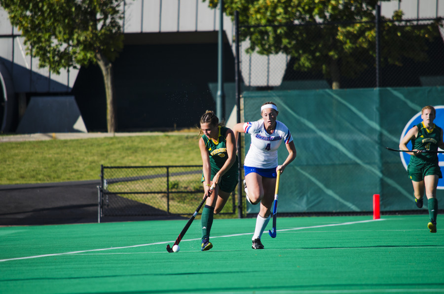 First-year midfielder Claudia Cotter runs downfield against UMass-Lowell Oct. 13. The Catamounts are 5-12 this season.