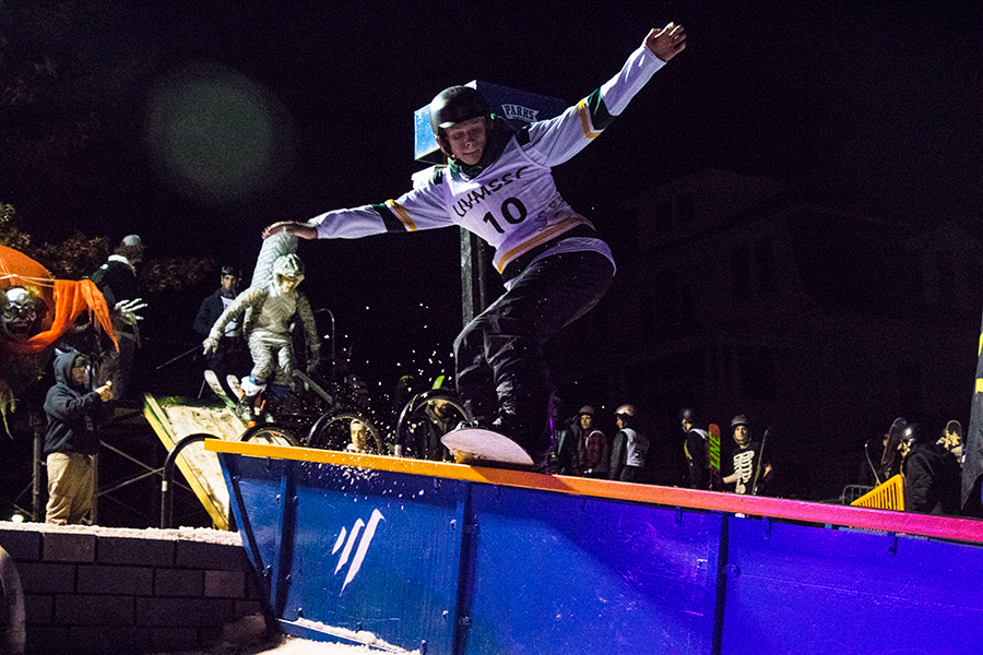 Students perform their gnarliest maneuvers at the Halloween Rail Jam. The annual event took place on the Trinity campus green Oct. 31.