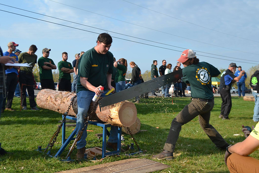 The UVM Woodsmen team competes at the Finger Lakes Community College Meet in Canadaigua, New York Oct. 14. All of the events are based off of historic logging practices.