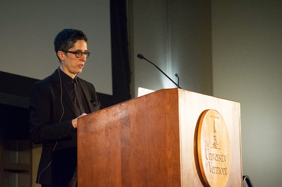 Alison Bechtel speaks to the audience gathered in the Silver Maple Ballroom Feb. 21.