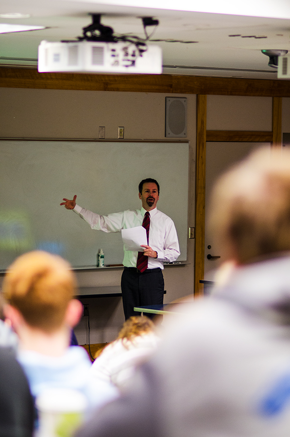 """Professor Sean Field lectures to his """"Early Europe"""" history class, Feb. 2. Field, who co-wrote the book Visions of Sainthood in Medieval Rome: The Lives of Margherita Colonna by Giovanni Colonna and Stephania, was honored for his publication."""