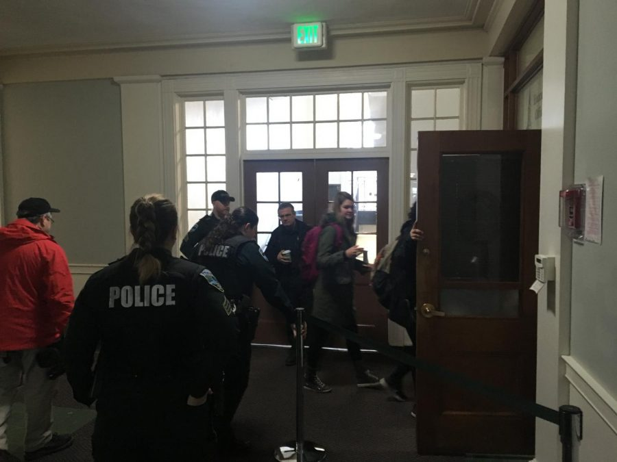 No Names for Justice protesters walk into the executive offices in the Waterman building to meet with University President Tom Sullivan Feb. 26.