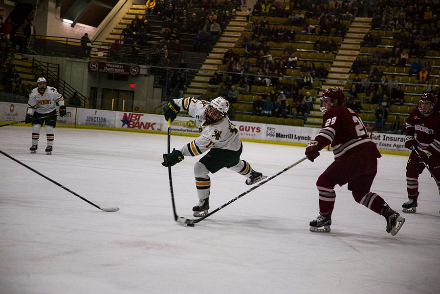 Sophomore+forward+Derek+Lodermeier+takes+a+shot+against+UMass+Amherst+Jan.+12.+The+Catamounts+are+8-15-5+overall+this+season.+%0A