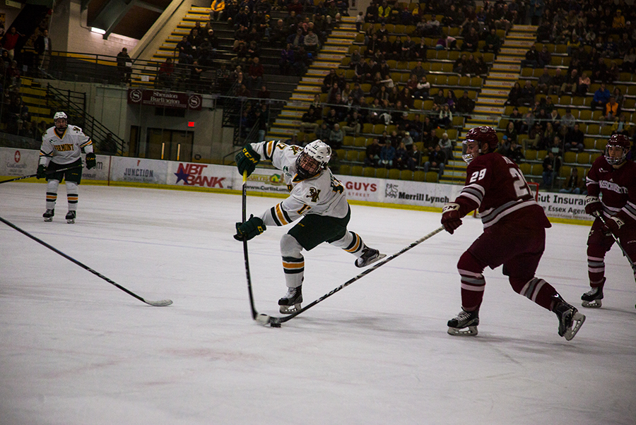 Sophomore forward Derek Lodermeier takes a shot against UMass Amherst Jan. 12. The Catamounts are 8-15-5 overall this season.