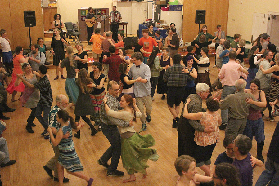 The Mad Robin Callers Collective, a group that meets to work on calling contra dances, gather at the Rose Street Co-op, a living and community space for artists in Burlington's Old North End, to begin an afternoon of contra dancing.