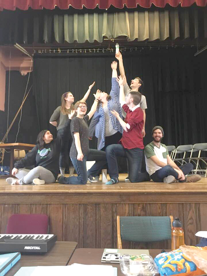 "The cast of the UPlayer's production of ""The 25th Annual Putnam County Spelling Bee,"" strike a pose in rehearsal at the end of the opening number. There will be two matinees of the show at 2 p.m. April 14 and 15, with one evening performance at 7 p.m. April 14."