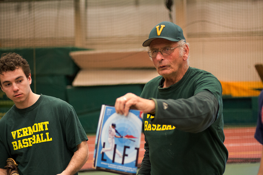 UVM+club+baseball+team+head+coach%2C+Jim+Carter+addresses+his+players+before+a+practice.+Carter+is+the+former+coach+of+the+varsity+team+which+was+eliminated+due+to+budget+cuts+in+2009.