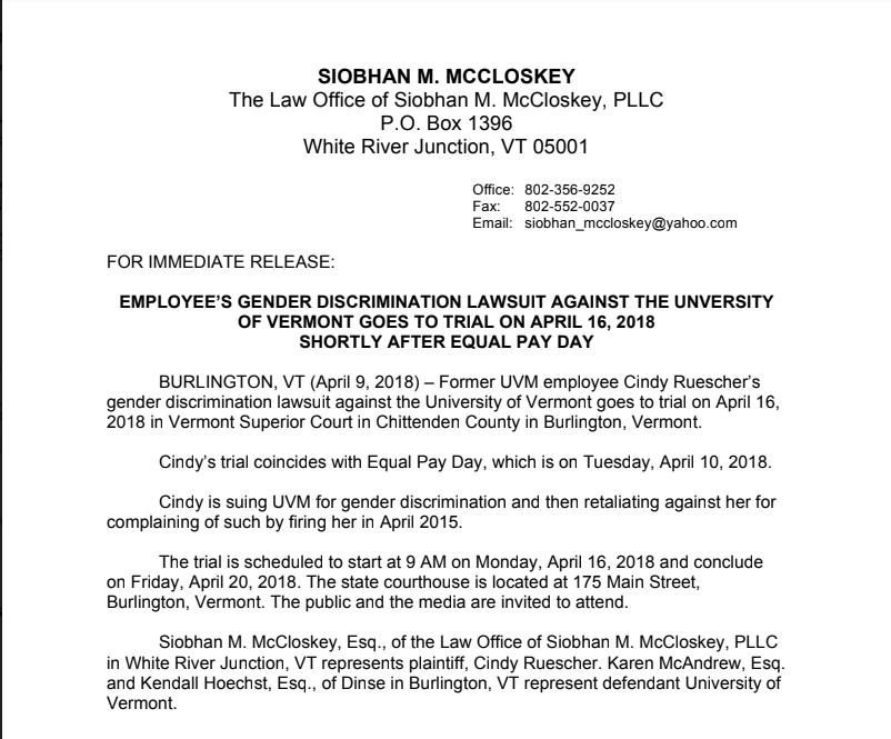 Former UVM employee suing for gender discrimination