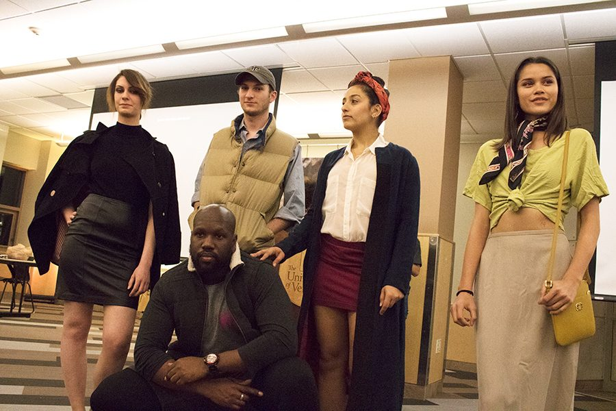 (L-R) Junior Laura Ziemer, senior Oliver Tannheiser, sophomore Dima Dahdah, junior LeAnn Gove and exchange student Yanick Vedder were were models in the UVM Program Board and CARI Magazine's Sustainable Fashion Show.