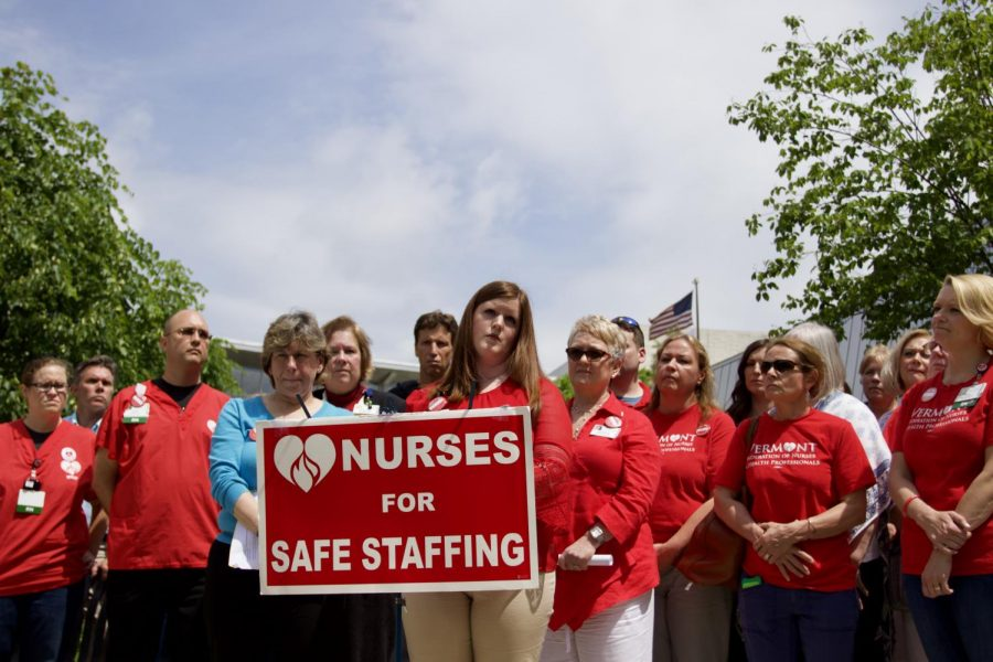 Registered+Nurse%2C+Sarah+Ferguson%2C+announces+the+submission+of+20+unfair+labor+complaints+against+UVMMC