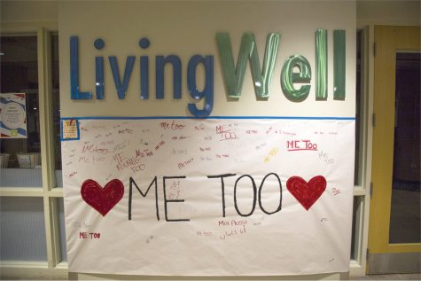 A #meToo sign outside Living Well that allowed students to sign about their own #meToo stories.