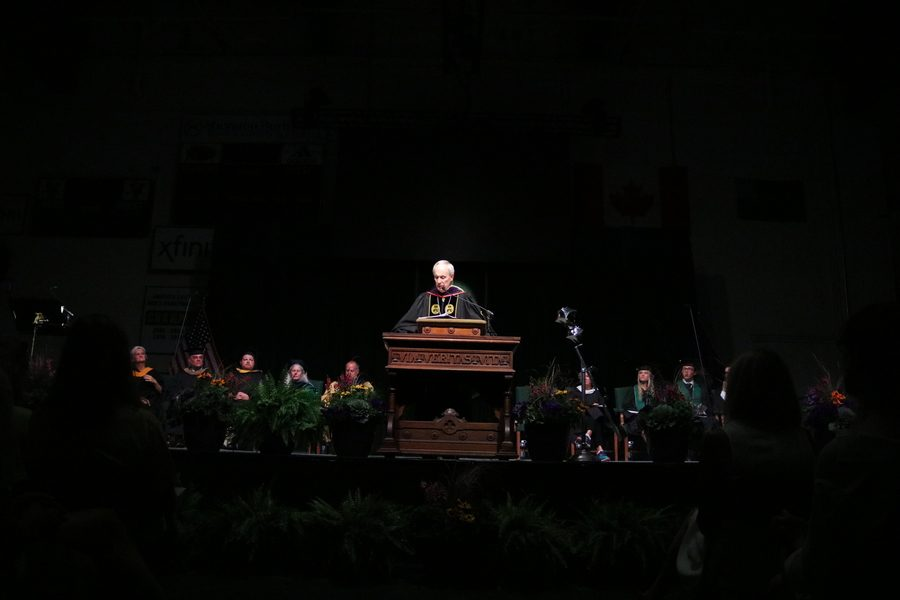 President+Tom+Sullivan+delivers+a+speech+at+his+final+convocation+as+president.