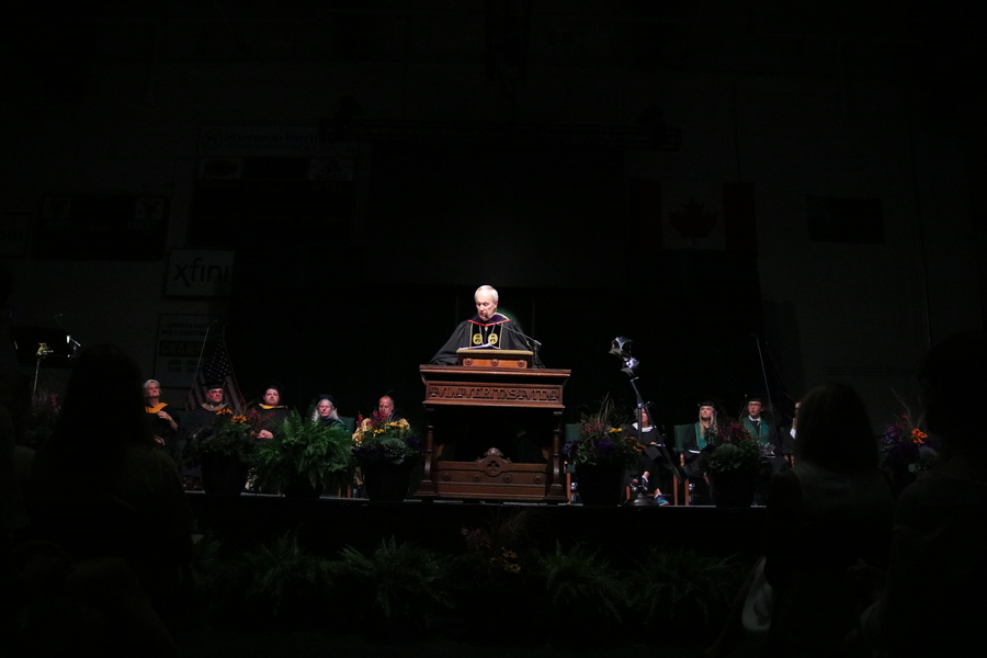 President Tom Sullivan delivers a speech at his final convocation as president.