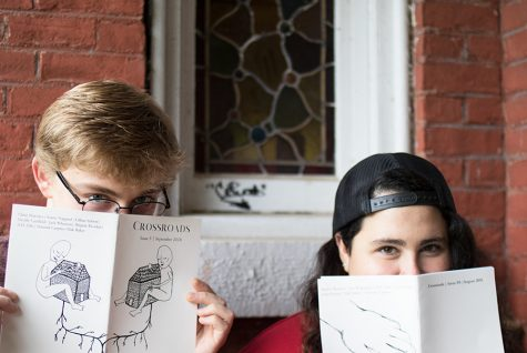 Senior Alexander Ellis and Mack Baker are the editors for Crossroads magazine. Crossroads magazine is an independent, student-run poetry magazine, distributed monthly at Muddy Waters, Uncommon Grounds, Pure Pop Records and the Light Club Lamp Shop.