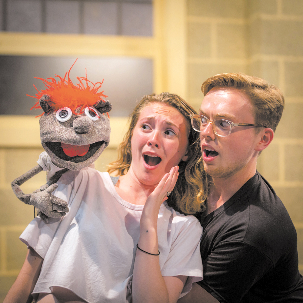 """Juniors Caleb Chew and Kristen Brown are leads in the UVM Department of Theatre's production of """"Hand To God,"""" running  Oct. 3-7 at the Royall Tyler Theatre. """"Hand to God"""" is a dark comedy about a teenager who winds up performing in a church puppet show that soon appears to be possessed."""