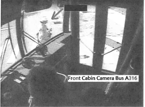 The victim, Susan Shaffer, seen on the bus surveillance camera just before the accident.