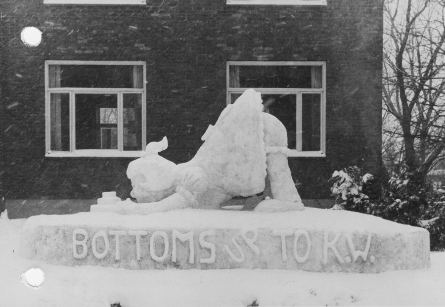 Snow sculpture built for the Kake Walk's fraternity ice sculpture contest.