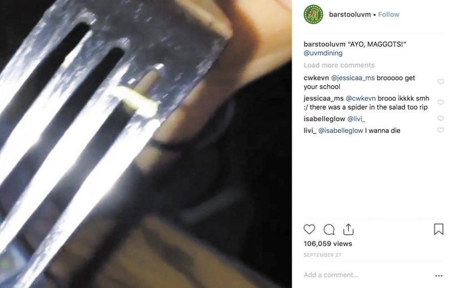 The Instagram page Barstool UVM, a direct affiliate of Barstool Sports according to their Instagram bio, posted a video of a cabbage worm with the caption