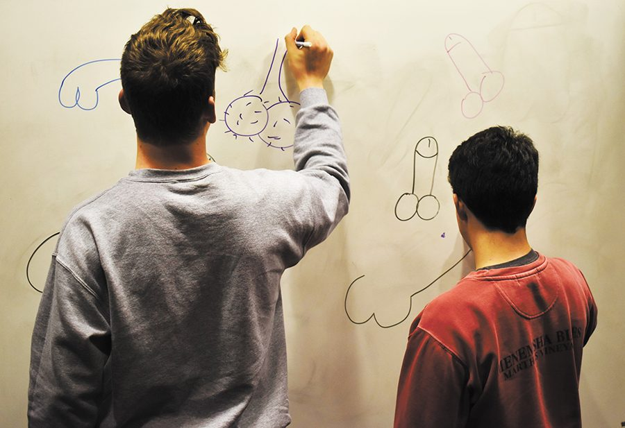 Penis drawings on whiteboards are considered bias incidents that could be reported to UVM police servies by resident advisors. Resident advisors have been trained to document these drawings by taking pictures of them and writing a report.