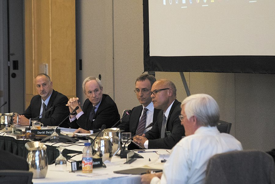 President Tom Sullivan and trustees convene at the board of trustees fall meeting Oct. 27. An anonymous email sent to UVM promises rallies and riots over the university's lack of funding for arts and humanities.