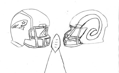 Patriot's and Rams' helmet super bowl matchup.