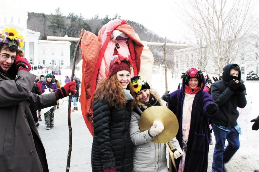 Protesters+pose+for+a+photo+Jan.+19+in+front+of+a+plush+vagina+at+the+Montpelier+Women%27s+March.+Various+organizations+participated%2C+marching+in+support+of+women+and+marginalized+communities.+