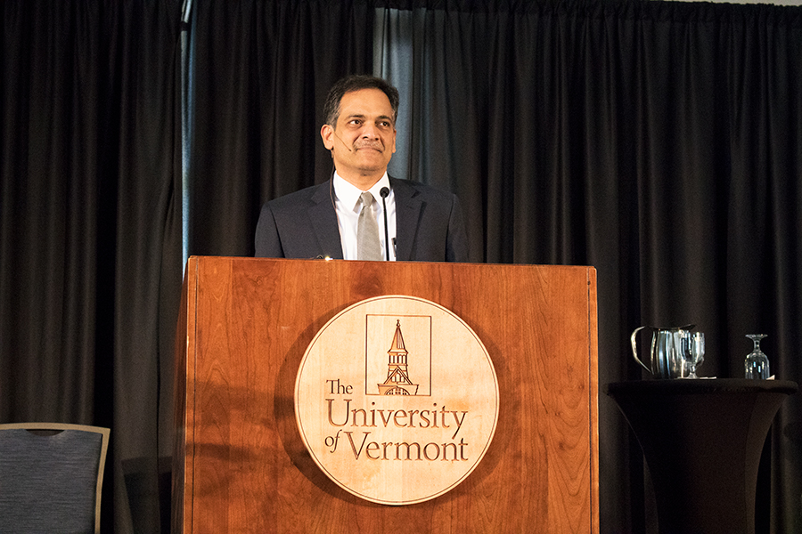 Presidential candidate finalist, Suresh Garimella, addresses the crowd in the Grand Maple Ballroom Feb. 14 during an open forum. The board of trustees is collecting feedback to inform their decisions about selecting the next University president.