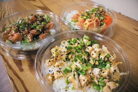 "The sweet ginger chicken, shiso salmon and spicy ahi tuna poke bowls are all ""Signature Works"" that can be found at Pokeworks on Church Street. Depending on the ingredients you choose, bowls cost about $10 to $13."