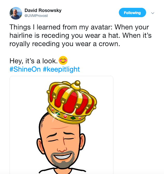 A Feb. 12 tweet by David Rosowsky, provost and senior vice president. The image attached to the tweet resembles that printed on posters critical of Rosowsky that were hung up around campus.