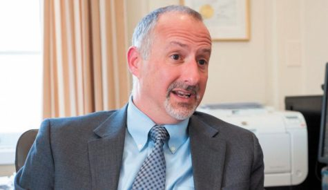 Provost David Rosowsky discusses his role on campus in his office in April 2015. He announced his resignation at the end of the semester in a Feb. 25 email to the UVM community.