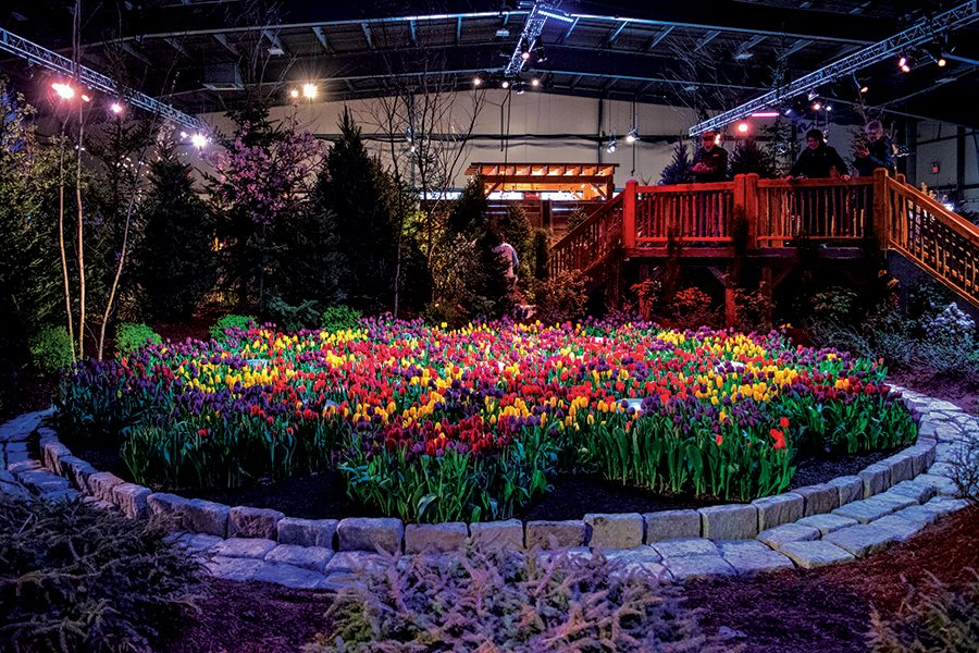 A large flower display inside the Champlain Valley Exposition. From March 1 to 3, the Vermont Flower Show displayed intricate landscaping creations to the public, along with hosting many landscaping vendors.