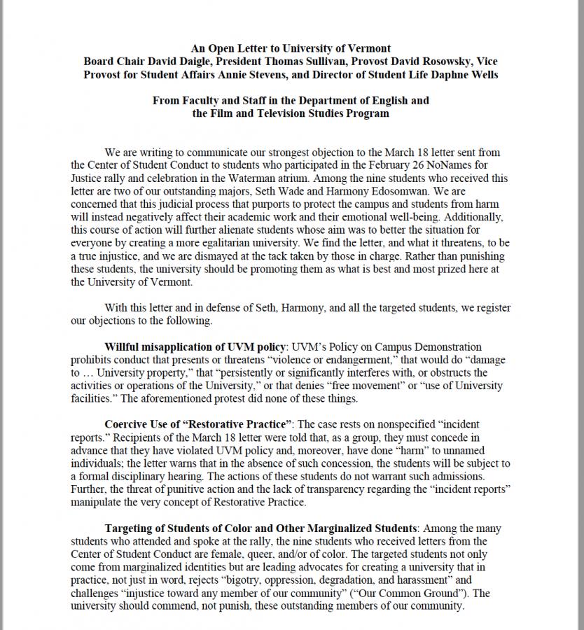 UVM+professors+back+student+activists+against+conduct+process