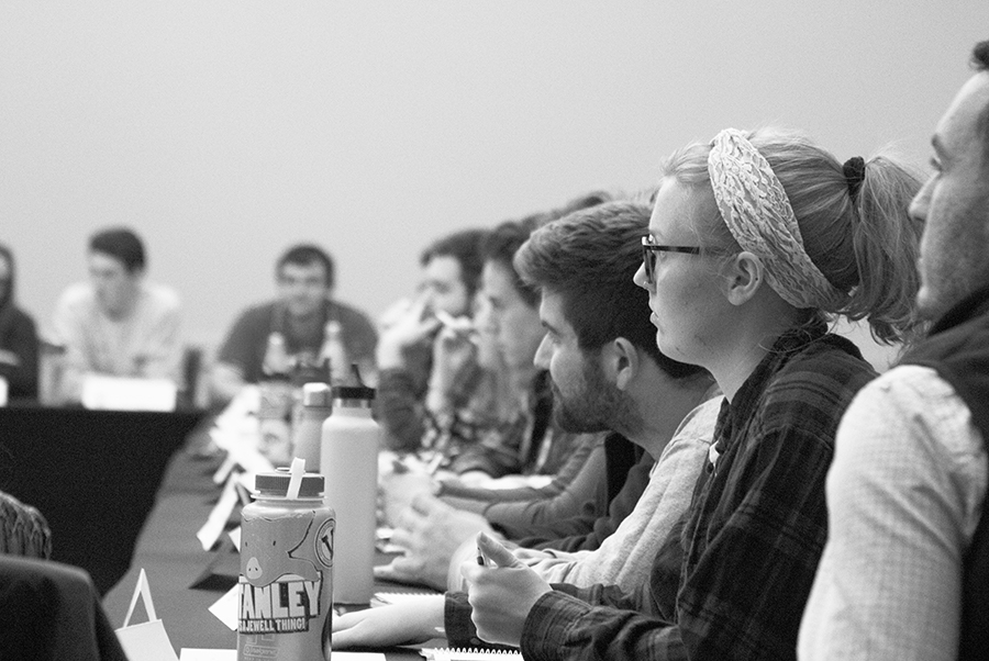 Members of the SGA senate listen intently at a Nov. 6, 2018 SGA meeting. SGA passed a resolution April 2 condemning Canary Mission, an online database of individuals and organizations that have expressed criticisms of Israel.