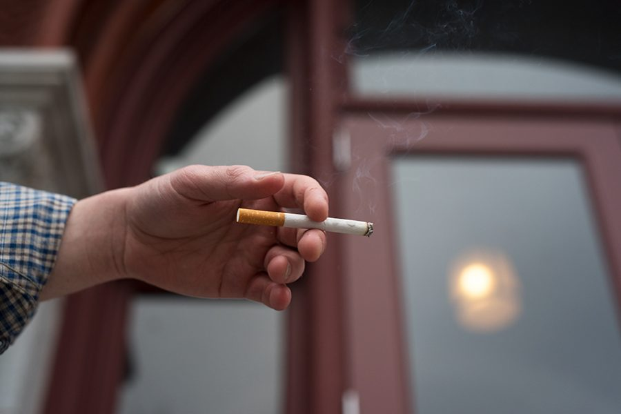 A popular place to smoke on campus is outside Williams Hall. The Center for Health and Wellbeing is attempting to limit on-campus smoking by hiring student cigarette ambassadors to engage with students smoking on campus and post informational signs.